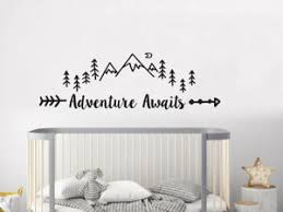 Wall Decals Adventure Awaits Vinyl Sticker Mountain Nursery Bedroom Decor Nv260 Ebay