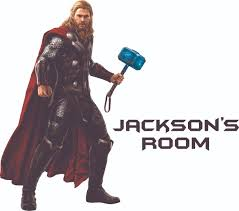 The Thor Marvel Comics Cartoon Character Vinyl Customized Name Decal Custom Vinyl Wall Art Personalized Name Baby Girls Boys Kids Bedroom Decal Room Stickers Decoration Size 30x27 Inch