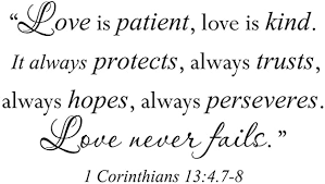 Amazon Com Wall Sticker Quote Vinyl Decal Love Is Patient Kind Corinthians Bible Verse Arts Crafts Sewing