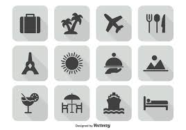 travel icon set free vectors
