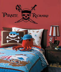 Sale Pirate Skull With Boy S Name Vinyl Wall Decal Monogram Personalized Vinyl Wall Decals Nursery Vinyl Wall Decals Boys Room Decals