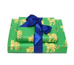 green leopard gift wrap
