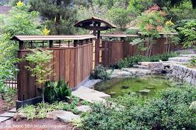 A Typical Japanese Garden With Wooden Japanese Fencing Design Idea The Aesthetic Natural Woode Japanese Garden Landscape Japanese Garden Design Modern Garden