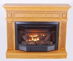 dual fuel gas fireplace with oak mantel
