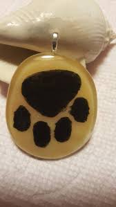 dichroic glass dog paw pendant with