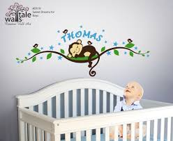 Personalized Name With Monkey Wall Decal And Birds
