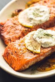 Baked Salmon with Creamy Lemon Dill ...