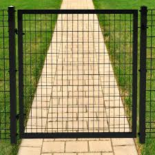 Forgeright Deco Grid 4 Ft X 4 Ft Black Steel Straight Fence Gate 862224 The Home Depot Metal Garden Fencing Metal Driveway Gates Steel Fence