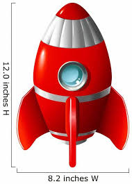 Red Space Rocket Wall Decal Wallmonkeys Com