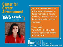 Digital Marketing in Tech Sector with Anna Astakhishvili '15 at Bucknell  University Center for Career Advancement, Lewisburg