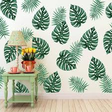 60x80cm green banana leaf wall stickers