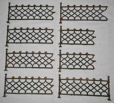 Wrought Iron Miniature Fence Ball Post Caps Shell Finials 8 Pieces Green Gold Vintage