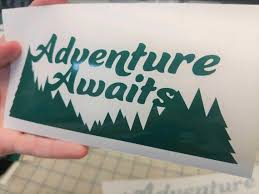 Adventure Awaits Bumper Sticker Decal With Treeline And Text Etsy