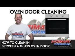 to clean in between a glass oven door