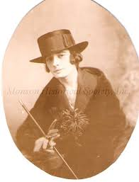Adeline Anderson holding cane