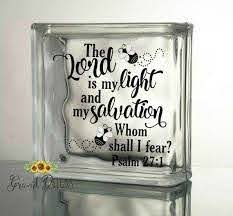 The Lord Is My Light Vinyl Decal Christian Scripture Etsy Glass Blocks Vinyl Decals Christian Decals