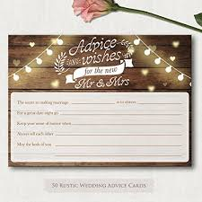 50 rustic wedding advice cards and well