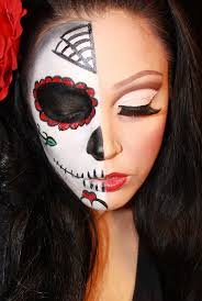 how to do half face sugar skull makeup