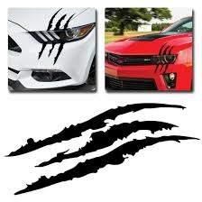 Black Universal Car Headlight Scratch Stripe Decal Sticker Claw Stripe Slash Ebay