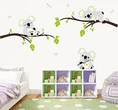 Koala Tree Branch Wall Decals Diy Wall Decals Wall Sticker Nursery Vinyls Baby Wall Stickers Wall Art For Kids Rooms 200cm W X 110cm H By Anber Shop Online For Baby