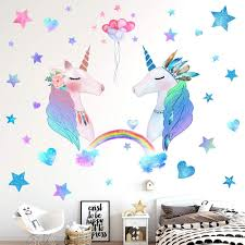 Amazon Com 74 Pcs Unicorn Bedroom Decor For Girls Removable Wall Stickers For Kids Girls Room Decorations For Bedroom 2 Sheets Large Size Gift Pack Kitchen Dining