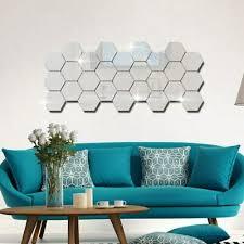 12x 3d Mirror Hexagon Vinyl Removable Wall Sticker Decal Home Decor Art Difbdc