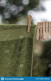 Vertical Closeup Shot Of A Green Towel Hanging On A Washing Line With Wooden Pegs On It Stock Photo Image Of Hold Plastic 157176886