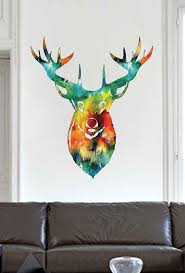 Cik1833 Full Color Wall Decal Watercolor Deer Head Living Room Stickersforlife