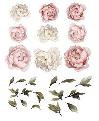 Peony Flower Wall Stickers Baby Girl Decor Flower Wall Decals Nursery Decals Girl