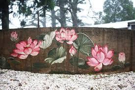 Outdoor Wall Painting Lotus Blossoms Mural Garden Fence Art Fence Art Garden Mural