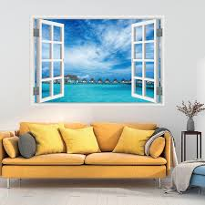 3d Full Colour High Definition Nature Scenery False Faux Window Frame Wall Decals Beautiful Wall Art Wall Decal For Your Home Wall Stickers Aliexpress