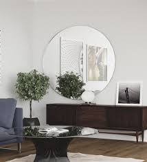 glass wall mirror in silver color