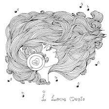 Kleurplaat Pagina Meisje Met Golvend Haar Luisteren Muziek In