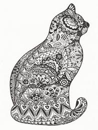 Zentangle Cat Animal Coloring Pages Zentangle Drawings