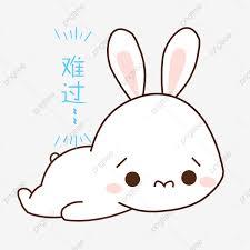 أرنب حزمة التعبيرات حزينة كرتون مرسومة باليد كرتون مرسومة باليد