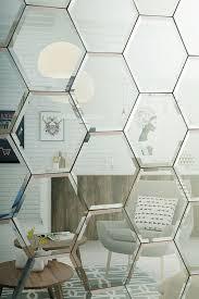 hexagonal bevelled mirror tiles