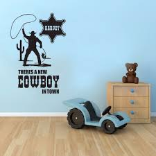 Cowboy Personalized Name Wall Stickers For Nursery Kids Room Boys Wallpaper Decals Bedroom Playroom Vinyl Art Home Murals Yy244 Wall Stickers Aliexpress