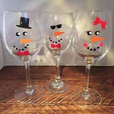 6 X Snowman Diy Christmas Bauble Wine Glass Vinyl Decal
