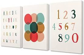 Amazon Com The Kids Room By Stupell Kids Alphabet Numbers Geometric Nursery Design Canvas Wall Art 3pc Each 16 X 20 Multi Color Home Kitchen