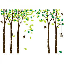 Large Birch Tree Vinyl Wall Decal With Birds And Birdcage Removable Mural Wall Stickers Diy Art Decor For Kids Bedroom Living Room Nursery Wallsymbol Com