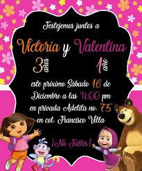 Invitacion Doble Masha Y El Oso Y Dora La Exploradora