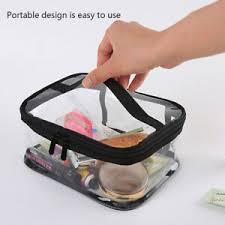 cosmetic bag clear zipper travel makeup