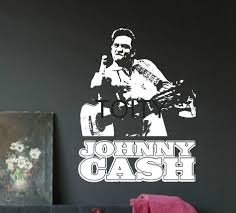 Johnny Cash Wall Sticker American Singer Guitarist Vinyl Decal Retro Decor Bar Studio Club Restaurant Home Interior Room Mural Wall Sticker Vinyl Decalhome Interior Aliexpress