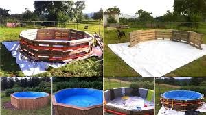homemade wood pallet swimming pool project