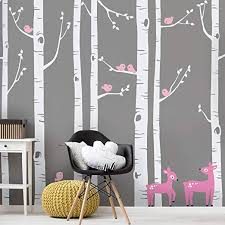 Amazon Com Simple Shapes Birch Tree With Bird And Deer Wall Decals Scheme C 96 243 Cm Tall Trees Home Kitchen