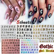 5pcs Mixed Random Nail Art 3d Decal Stickers Alphabet Letters White Black Gold Laser Acrylic Nails Tool Wish