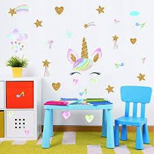 Amazon Com Colorful Unicorn Wall Decal Face Smile Unicorn Sticker With Clouds Love Star Decal Fairytale Wall Decals For Girls Bedroom Home Decor Kitchen Dining