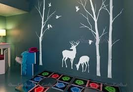 Birch Trees Decals Deer Wall Decals Nature Wall Decals Etsy