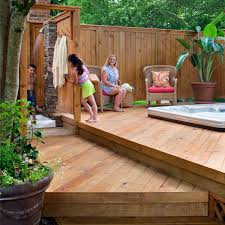 Wood Deck Around Hot Tub With Privacy Fence Archadeck Outdoor Living