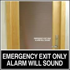 Office Shop Decal Emergency Exit Alarm Will Sound For Business Door Sign White For Sale Online Ebay